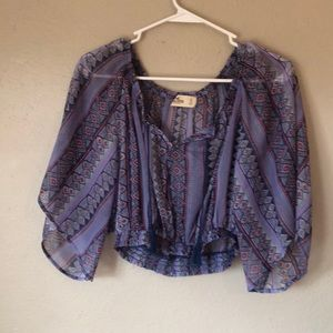 Purple Festival Style Hollister Crop Top.  Small